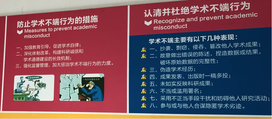 Poster advising against academic misconduct, at a Chinese university