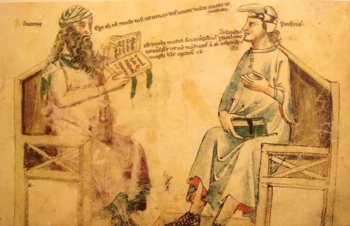 Fictional dispute between muslim scholar Averroes and ancient scholar Porphyrios.