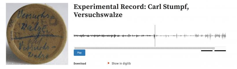 "Object ""Versuchswalze,"" from the curated collection ""Carl Stumpf's experimental records"" (URL: acoustics.mpiwg-berlin.mpg.de/audio/experimental-record-carl-stumpf-versuchswalze)."