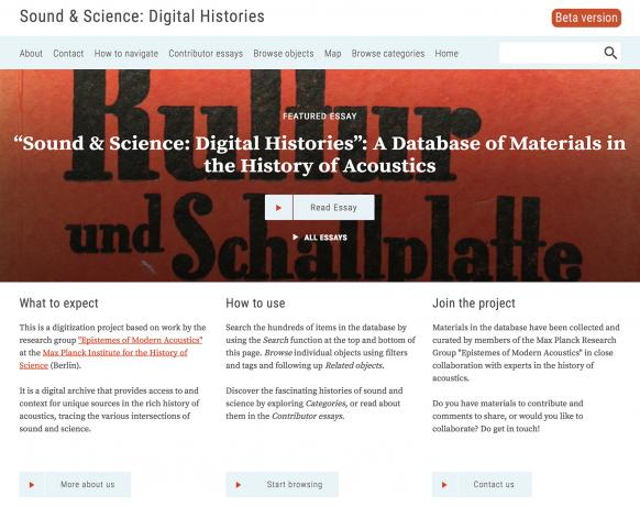 "Home page of the newly launched database ""Sound & Science: Digital Histories"" (URL: acoustics.mpiwg-berlin.mpg.de)."