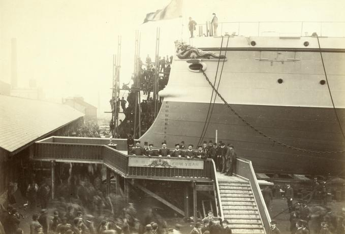 'Chih Yuan' ready for launch at Newcastle upon Tyne 1886 with six Chinese officials on the launch platform