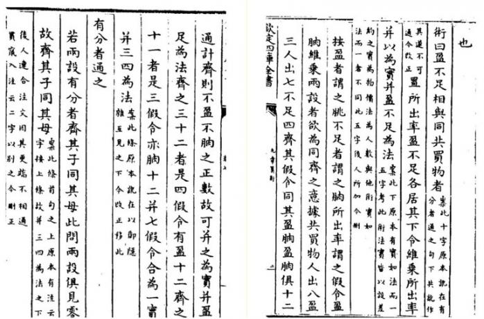 The Nine Chapters on Mathematical Procedures 九章算術, first century CE. Edition Siku quanshu 四庫全書, 1784, chap. 2, pp. 2a–2b, via Internet Archive, https://archive.org/details/02094070.cn.