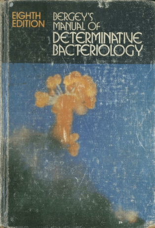Cover of Bergey's Manual of Determinative Bacteriology. The 1974 edition, edited by R.E. Buchanan, was published one year after Bergey's death, in 1974.