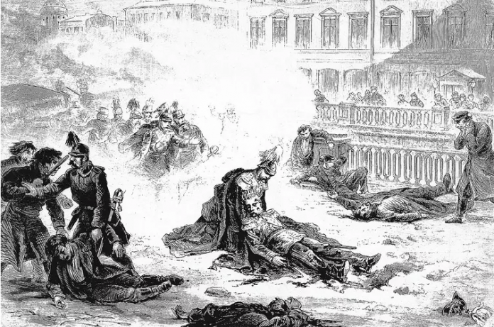The assassination of Alexander II of Russia, 1881.