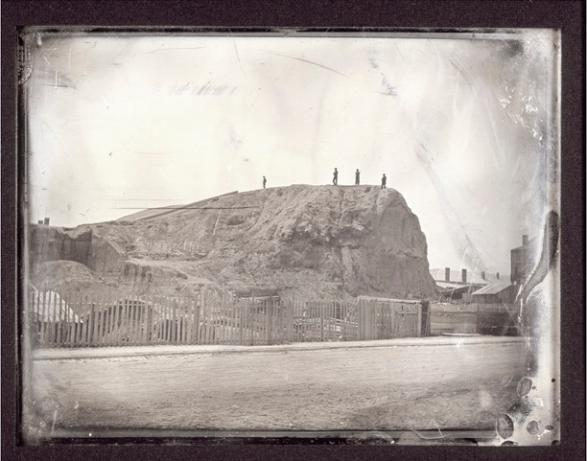 Destruction of Big Mound in St. Louis. Missouri History Museum, St. Louis. Easterly Daguerrotype Collection, 1852.