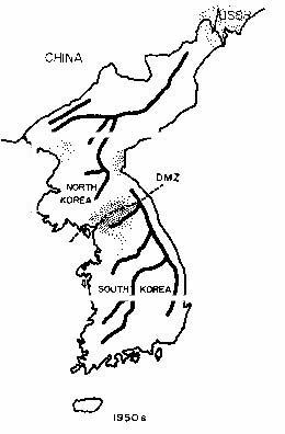 Distribution of the Korean hemorrhagic fever in the DMZ and other areas in the 1950s