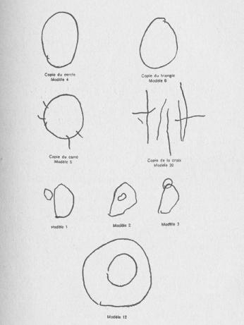 Sample drawings from substage IB from Piaget's experiment on drawing geometric figures (as reproduced in the publication), from: Jean Piaget & Bärbel Inhelder: La représentation de l'espace chez l'enfant, Paris 1948.