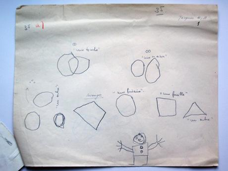 Copies of various geometric models (compare Fig. 2a) and stickman made by a four-year-old boy (Jacques), from Piaget's experiment on drawing geometric figures, 1945. Jean Piaget Archives, Geneva.