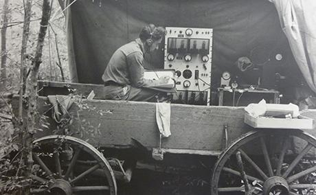 Fig. 2: Cornell ornithologist Peter P. Kellogg in an improvised studio on field expedition in 1935. Albert R. Brand Papers #21-18-899, Division of Rare and Manuscript Collections, Carl A. Kroch Library, Cornell University.