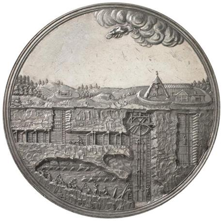 Fig. 3: This commemorative silver medal marked the completion of an aquaduct (shown on the obverse) as well as the first payment of a dividend after years of loss. Münzkabinett, Staatliche Museen zu Berlin, Inv. Nr. 18207762. Photography: Lutz-Jürgen Lübke.