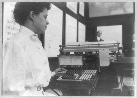 Fig. 3: U.S. Census Bureau machines and operators, 1908. Library of Congress Prints and Photographs Division Washington, D.C.