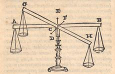 Illustration of an equal-armed balance, both in equilibrium and in a deflected position. From Alessandro Piccolomini (1565). In: Mechanicas quaestiones Aristotelis, paraphrasis paulo quidem plenior. Venice: Curtius Troianus, p. 20. MPIWG, library.