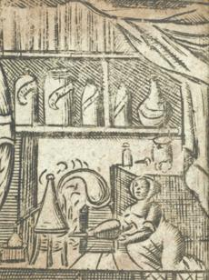 A woman hard at work distilling. Scene opposite title page of The accomplished ladies rich closet of rarities (London, 1691). Image courtesy of Wellcome Library, London.