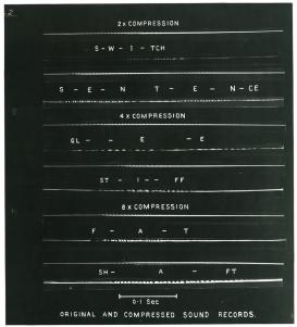 Image of time-compressed speech on the kinematic frequency compressor, ca. 1945. From Denis Gabor Archives, Imperial College.
