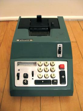 Olivetti adding machine, a source of inspiration for George Maciunas's work In memoriam to Adriano Olivetti (1962).