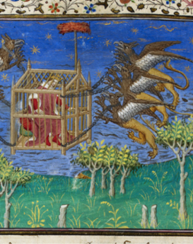 Images from London, BL, Royal 20 B XX (Le Livre et le vraye hystoire du bon roy Alixandre), France, c. 1420  fol. 76v (Alexander in a griffin-powered flying machine)