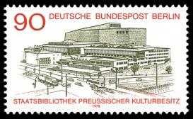 The Staatsbibliothek on a stamp in its opening year: a complex net of information infrastructures. Source: Public domain.
