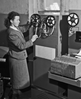 Figure 1: A typesetting system for automatic data entry into the linotype machine made by the laboratory for the mechanization of information work at the Institute of Scientific Information (Moscow, December 1959). Courtesy of the Russian State Archive of Documentary Films and Photographs, Moscow.