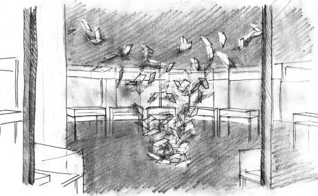 Drawing of paper sheets flying through the exhibition.